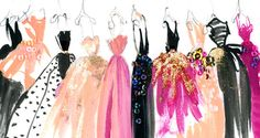 Pretty little ballgowns, all lined up in a row.