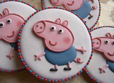onesie Dora Cookies with Simple Cutters biscotti peppa pig Pig Cookies, Galletas Cookies, Cookies For Kids, Iced Cookies, Easter Cookies, Cute Cookies, Sugar Cookies, Peppa E George, George Pig Party