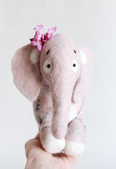 Waldorf toy. Aurelia - Felt Elephant. Felt toy. Felted Animals. Softie Plush Toy Stuffed animals. Nursery decor soft toy. dusty light pink. by TwoSadDonkeys on Etsy https://www.etsy.com/listing/288539269/waldorf-toy-aurelia-felt-elephant-felt