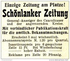Original-Werbung/Anzeige 1910 - SCHÖNLANKER ZEITUNG - SCHÖNLANKE (Trzcianka)…