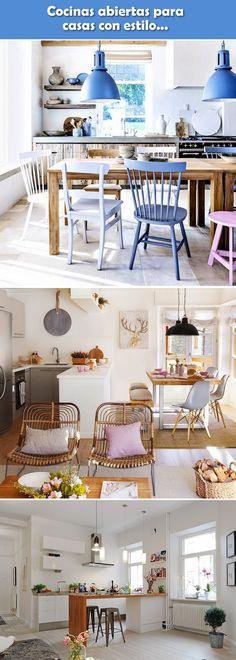 Cocinas abiertas. Cocinas integradas. Ideas para cocinas integradas a la sala y el comedor.