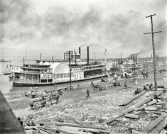 """The Mississippi River circa 1900. """"The levee at Memphis. Sidewheeler James Lee."""" In addition to the sternwheelers Harry Lee and City of St. Joseph. Shorpy Historical Photo Archive :: Show Boat: 1900"""