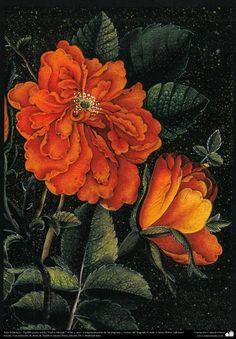 Arte Islámico-Tazhib persa estilo Gol-o Morgh -Flor y ave- 40