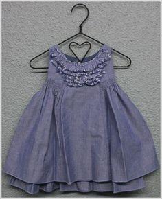 Little Maven Sleeveless Chambray Dress with Ruffles