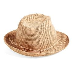 Helen Kaminski Raffia Crochet Packable Sun Hat ($230) ❤ liked on Polyvore featuring accessories, hats, nougat, raffia sun hat, helen kaminski, wide brim sun hat, sun hat and roll up hat