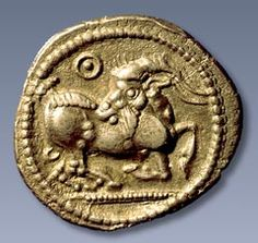Macedonian coins of ancient Greece - Silver stater from Aigai, depicting a goat, late century BCE, Paris, Bibliotheque Nationale. Empire Romain, Euro Coins, Coin Art, Gold And Silver Coins, Antique Coins, Medieval Art, Ancient Artifacts, Gold Bullion, Archaeology