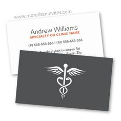 Modern, simple yet elegant medical doctor business card. White caduceus on a dark gray background.