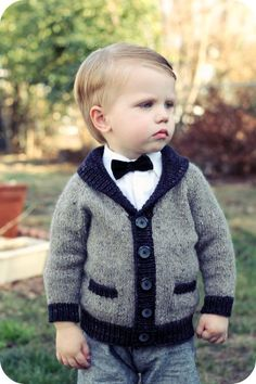 gramps cardigan knitting pattern by tincanknits Baby Boy Knitting Patterns, Knitting For Kids, Crochet For Kids, Baby Patterns, Crochet Baby, Knit Crochet, Easy Knitting, Knit Baby Sweaters, Knitted Baby Clothes