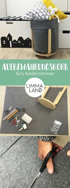 """IKEA HACK Aufbewahrungskorb aus dem FROSTA Hocker für das Kinderzimmer selber machen ohne nähen. Wir haben ihn aus Filz gebaut und mit Rollen versehen. Das macht ihn so praktisch und selbst für die """"nicht-nähverrückten"""" Menschen umsetzbar. Jetzt Wäschekorb, Korb für das Nähzimmer selbst gestalten. Die Anleitung für den Utensilo findest du hier: www.limmaland.com"""
