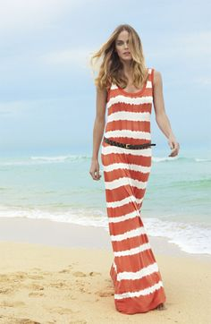 Maxi dress rayures rouge et blanc