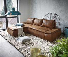 Eckgarnitur bean leder cognac couch sofa ecksofa - Innengestaltung wohnzimmer ...