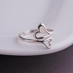 Personalized Jewelry Double Heart Ring – Love, Georgie - This heart ring is sterling silver and fits most! Adjusts from approximately a size 6 to a size Ready to ship and perfectly pairs with all of our personalized jewelry. Cute Rings, Unique Rings, Beautiful Rings, Cute Jewelry, Jewelry Gifts, Jewelry Stand, Heart Jewelry, Dainty Jewelry, Women's Jewelry