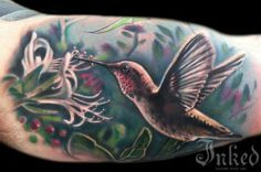 Humming bird by Johnny Smith #InkedMagazine #bird #hummingbird #tattoo #tattoos #inked #ink