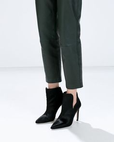ZARA - WOMAN - LEATHER HIGH HEEL BOOTIE WITH FUR
