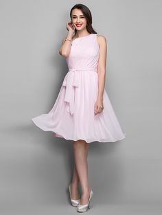 A-line  One Shoulder Knee-length Chiffon Cocktail Dress (722110) - USD $99.99
