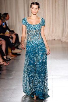 Blue gown with silver decoration - Marchesa Spring 2013