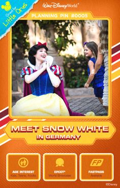 Walt Disney World Planning Pins: Fulfill a dream of meeting the lovely young princess Snow White. Have your photo taken and perhaps hear about one of those 7 little dwarfs.