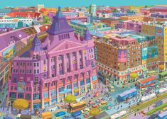 The illustrations of Anker Palace by Zsolt Vidák - Budapest inspired illustrations, paintings and prints by Hungarian artists Vancouver Winter, Color Trends 2018, Moholy Nagy, Canvas Prints, Art Prints, Budapest, Comic Artist, Easy Drawings, City Photo