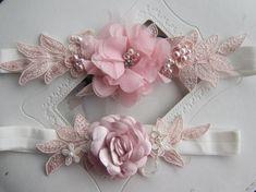 Wedding  Pink Garter Set/ Bridal Garter Set Lace  by PRIVATEBRIDES