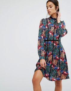 Image 1 of Boohoo Floral Long Sleeve Lace Trim Dress