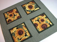Sunflower Table Topper by VillageQuilts on Etsy, $35.00