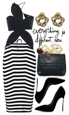 """""""Different"""" by cherieaustin ❤ liked on Polyvore featuring Alexander Wang, Rosie Assoulin, Casadei, Dimepiece and Oscar de la Renta"""