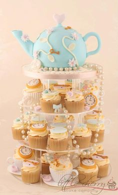 Little Cherry Cake Company... tea party cupcake tower