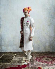 Men's White Sherwani With Maching Kurta Pjami and Red Stole Wedding and Party Sherwani For Men Wedding, Wedding Dresses Men Indian, Mens Sherwani, Sherwani Groom, Indian Wedding Outfits, Couple Wedding Dress, Groom Wedding Dress, Groom Dress, Men Dress