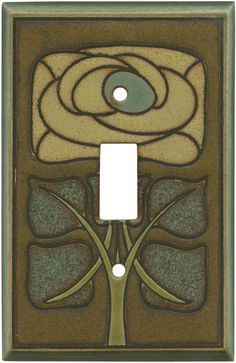 Art Nouveau Flower Ceramic - All Fired Up Ceramic Switch Plate Covers - Outlet Covers - Wallplates Craftsman Decor, Craftsman Interior, Modern Craftsman, Craftsman Style, Craftsman Houses, Craftsman Kitchen, Craftsman Bungalows, Cover Art, Switch Plate Covers