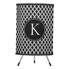 Black and White Geometric Pattern Custom Monogram Tripod Lamp - chic design idea diy elegant beautiful stylish modern exclusive trendy