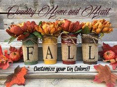 Rustic Home Decor Ideas And Tips Country Fall Decor, Rustic Fall Decor, Fall Home Decor, Country Décor, Fall Mason Jars, Thanksgiving Centerpieces, Thanksgiving Ideas, Thanksgiving Wreaths, Fall Arrangements