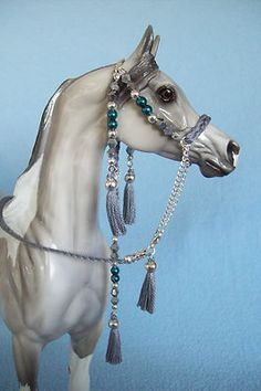 SILVER CRYSTALS & TEAL PEARLS  Show Halter for Peter Stone & Breyer Model Horses