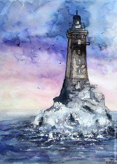 """Купить Картина акварелью """"Старый маяк"""" - сиреневый, акварель, акварельная картина, акварельная живопись"""