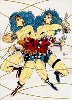WONDER WOMAN VS WW 52 2  BY artist CESAR GREGO- ART PINUP Drawing Original ART #PopArt