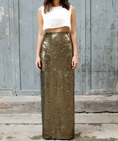 Insta-Obsession: A Sequin Maxi-Skirt You Can DIY This Weekend... I want to do this.... this is definitely not just a New Year's Eve outfit... This is a night out with drinks!!!