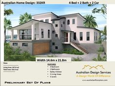 Modern 4 Bed + 2 Bath + 2 Car 2 Storey : Australian : - Preliminary House Plan S. - House Plans, Home Plan Designs, Floor Plans and Blueprints Best House Plans, Modern House Plans, House Floor Plans, House Plans 2 Storey, Double Storey House, Plane 2, Home Modern, Modern Family, Interior Minimalista