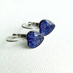 Blue Sparkly Heart Earrings Leverback by Bluebirdsanddaisies