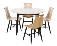 Huonekalut – Design from Scandinavia Round Table And Chairs, Dining Chairs, Dining Table, Table Furniture, Furniture Making, Furniture Design, Furniture Factory, Furniture Manufacturers, Interior Decorating