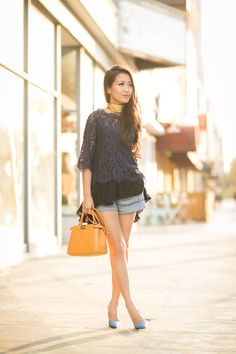 Summer Layers :: Blue lace & Ruffle camisole