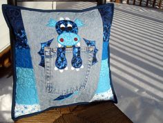 Blue Water Dragon Denim Pillow made with recycled jeans
