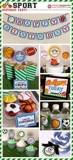 Sport Birthday Party Package Personalized FULL by venspaperie, $35.00