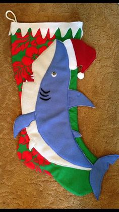 Shark Christmas Stocking for Jenson Ukanipo Christmas Lyrics, Christmas Signs, Christmas Crafts, Christmas Decorations, Christmas Stuff, Christmas Ideas, Nautical Christmas, Coastal Christmas Stockings, Sewing Projects