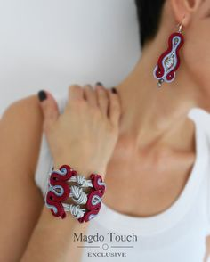 gray soutache jewelry set, red jewelry set with knots, deep red soutache jewelry set, maroon soutache jewelry set, elegant soutache set Red gray soutache jewelry set red jewelry set with knots Jewelry Knots, Bracelet Knots, Red Jewelry, Jewlery, Soutache Bracelet, Soutache Jewelry, Handmade Beaded Jewelry, Earrings Handmade, Anniversary Gift For Her