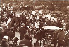 STREET SCENE WITH KAISER WILHELM II OF GERMANY & ORIGINAL ca 1890 s PHOTO