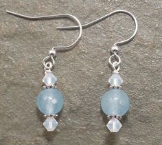 Delicate Blue Quartz and Opal Swarovski Crystal by SleeplessArt on Etsy
