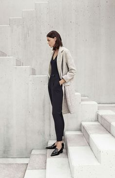 MINIMAL + CLASSIC: neutral coat, black top & pants with pointy loafers #style #fashion #workwear