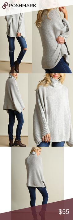 """SAVANNAH sweater with bell sleeves - SILVER Turtle Neck Knit Sweater with Bell Sleeves   *HEIGHT OF MODEL: 5'8"""" / SIZE: S/M. NO TRADE, PRICE FIRM Bellanblue Tops"""
