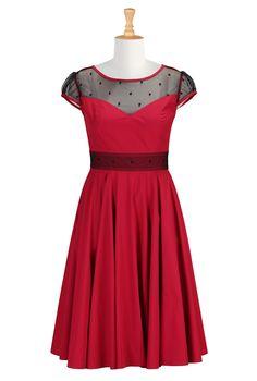 Red And Black Valentine Dresses, Illusion Bodice Poplin Dresses Shop womens designer dresses - Tops and Dresses for Women | eShakti.com
