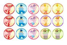 "Sesame Street - 1"" Bottle Cap Designs / DIY Hair Accessories / DIY Earrings / DIY Necklace / DIY Key Chain / Birthday Party / Party Favors / DIY Magnets / Bottle Cap Crafts / Bottle Cap Art / Bottle Cap Ideas / Bottle Cap Party Favors / Children Party Ideas / Children Party Themes / Kid Party Ideas / DIY Party Ideas"