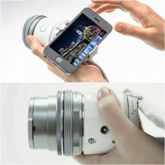 The Olympus Air A01, a camera sensor and lens mount that's controlled by your smartphone.